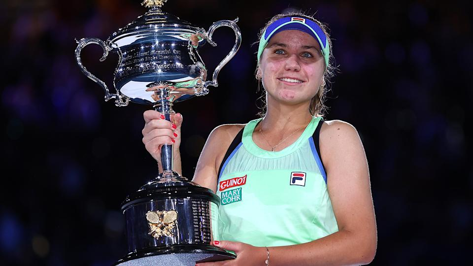 Sofia Kenin, pictured here after winning the 2020 Australian Open.