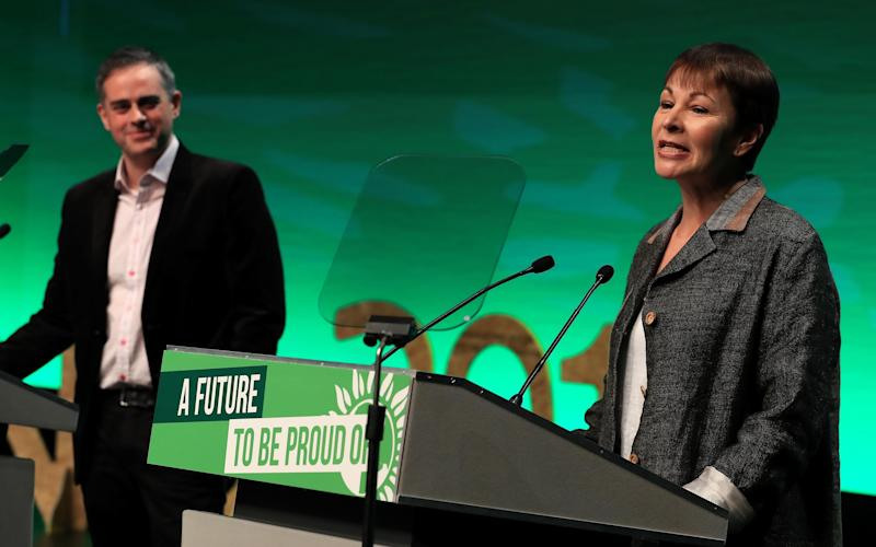 Green Party co-leaders Jonathan Bartley and Caroline Lucas speak at the Green Party Spring Conference at the ACC in Liverpool. - PA/PA
