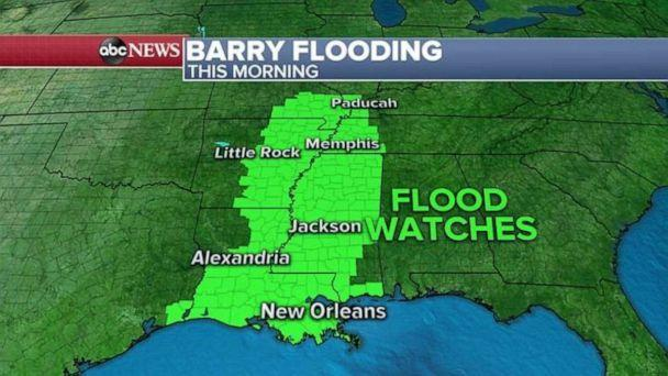 Barry's flood threat lingers though the wind system weakens - Xinhua | English.news.cn