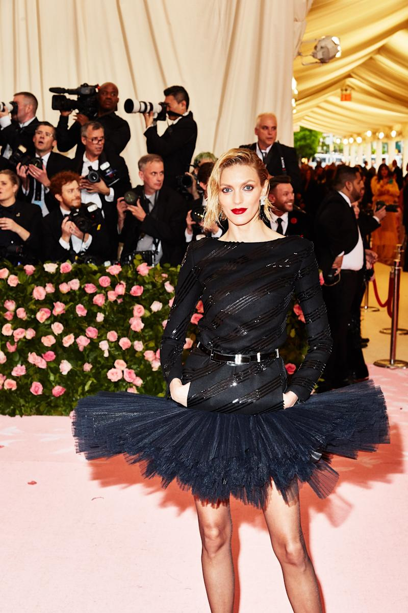 Anja Rubik on the red carpet at the Met Gala in New York City on Monday, May 6th, 2019. Photograph by Amy Lombard for W Magazine.