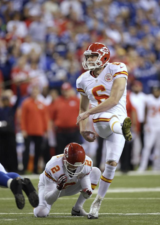 Kansas City Chiefs kicker Ryan Succop (6) makes a 19-yard field goal against the Indianapolis Colts during the first half of an NFL wild-card playoff football game Saturday, Jan. 4, 2014, in Indianapolis. (AP Photo/AJ Mast)