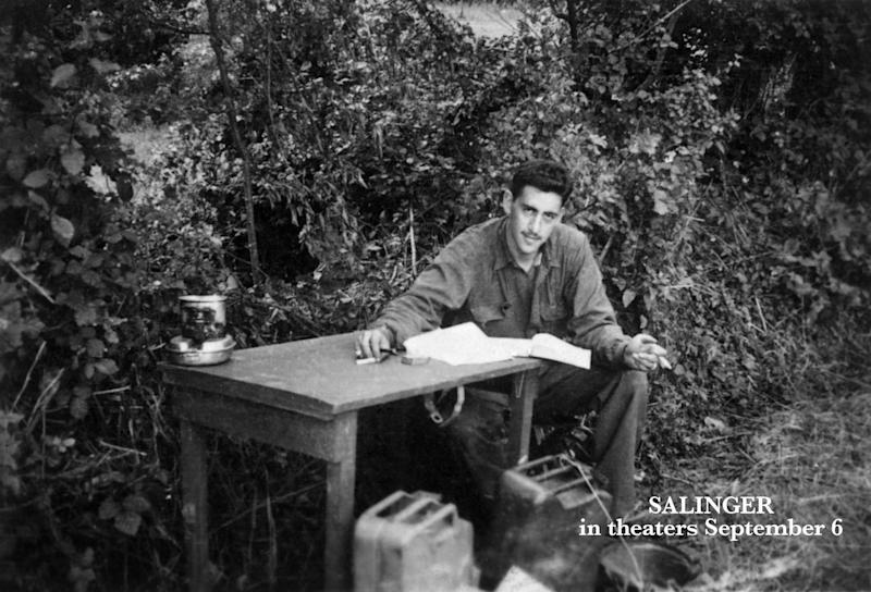 "This undated image provided by The Story Factory, shows J.D. Salinger working on ""Catcher in the Rye"" during World War II. Shane Salerno, a screenwriter, has taken on a surprising and news-making identity: the latest, and, apparently, greatest seeker of clues about J.D. Salinger.(AP Photo/The Story Factory, Paul Fitzgerald)"