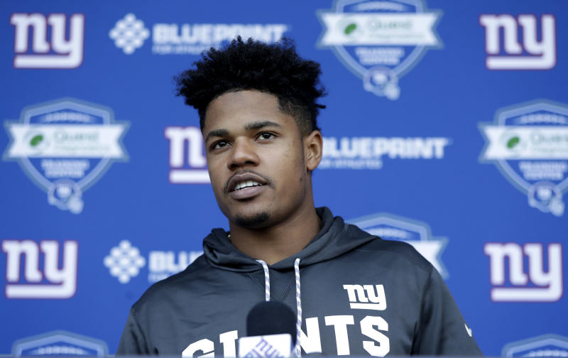 New York Giants wide receiver Sterling Shepard talks to reporters during the team's NFL football organized team activities, Tuesday, May 29, 2018, in East Rutherford, N.J. (AP Photo/Julio Cortez)