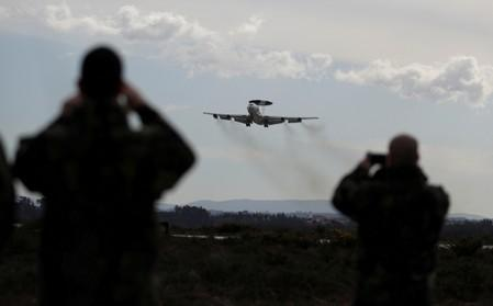 FILE PHOTO: A NATO AWACS (Airborne Warning and Control Systems) aircraft approaches to the Air Base number 5 during the Real Thaw 2018 exercise in Monte Real