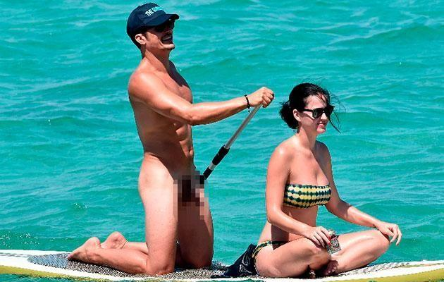 Orlando Bloom let it all hang out during an Italian holiday with ex Katy Perry. Source: Australscope