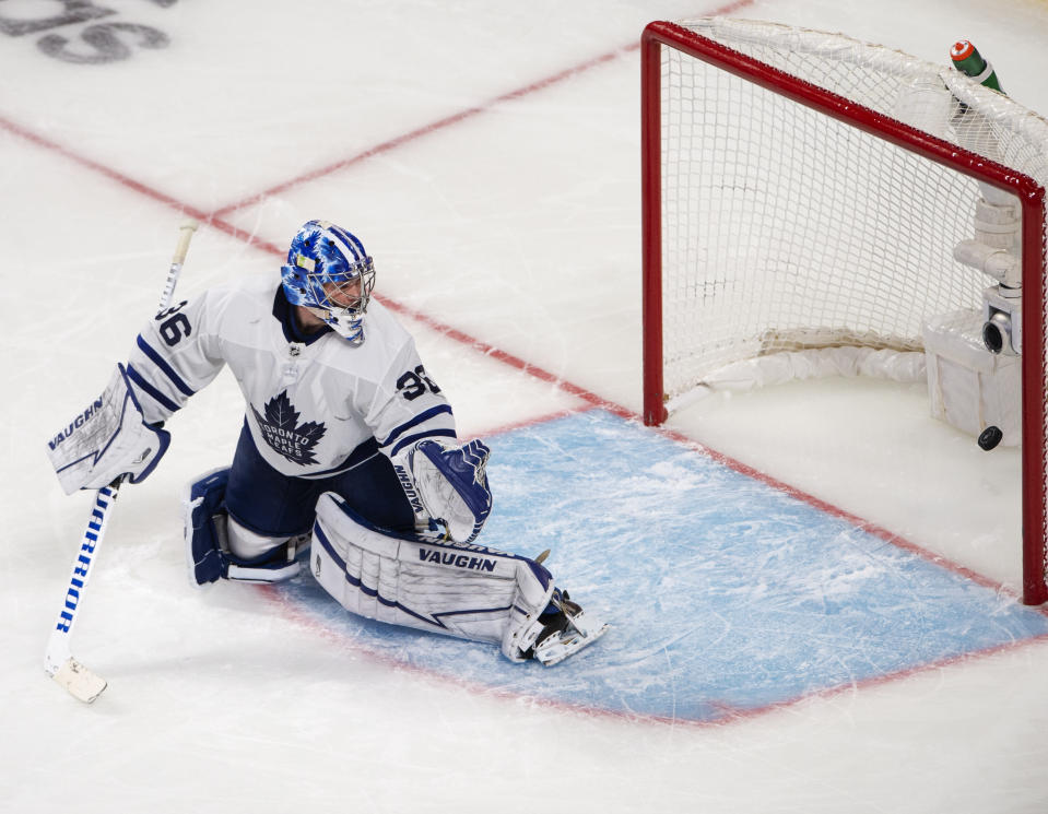 Toronto Maple Leafs goaltender Jack Campbell (36) gives up a goal to Montreal Canadiens' Jesperi Kotkaniemi during overtime in Game 6 of an NHL hockey Stanley Cup first-round playoff seres Saturday, May 29, 2021, in Montreal. (Ryan Remiorz/The Canadian Press via AP)