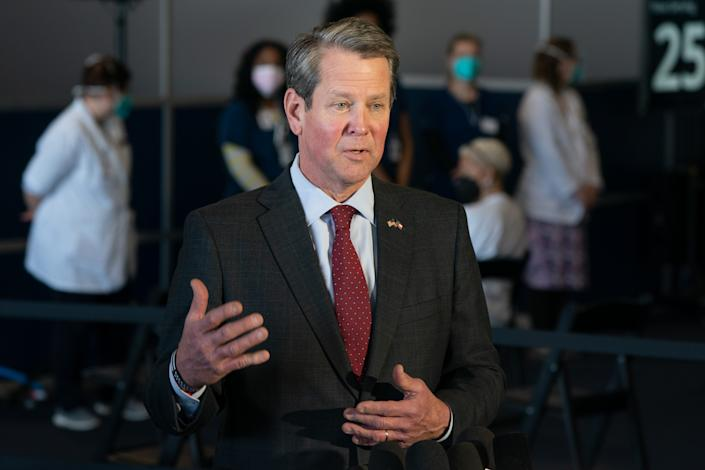 Brian Kemp, governor of Georgia, speaks during a news conference at a mass covid-19 vaccination site at the Delta Flight Museum in Hapeville, Georgia, U.S., on Wednesday, Feb. 25, 2021. (Elijah Nouvelage/Bloomberg via Getty Images)