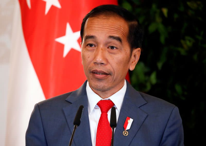 FILE PHOTO: Indonesia's President Joko Widodo speaks at the Istana in Singapore