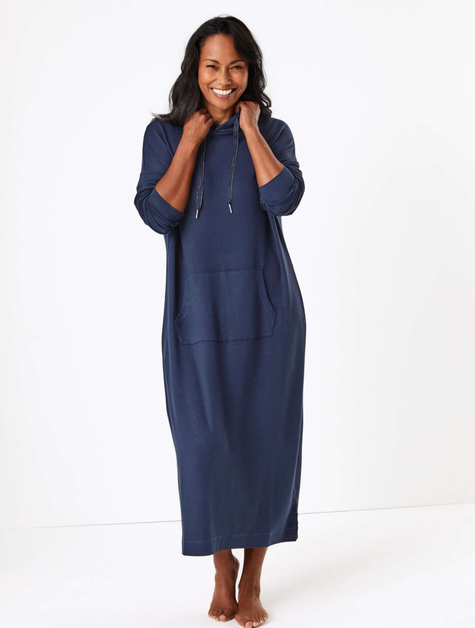 The snug loungewear dress is perfect for kicking back with a cuppa. [Photo: M&S]