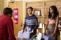 """This image released by Netflix shows Cocoa Brown, from left, Jaren Lewison and Maitreyi Ramakrishnan in a scene from the series """"Never Have I Ever."""" (Lara Solanki/Netflix via AP)"""
