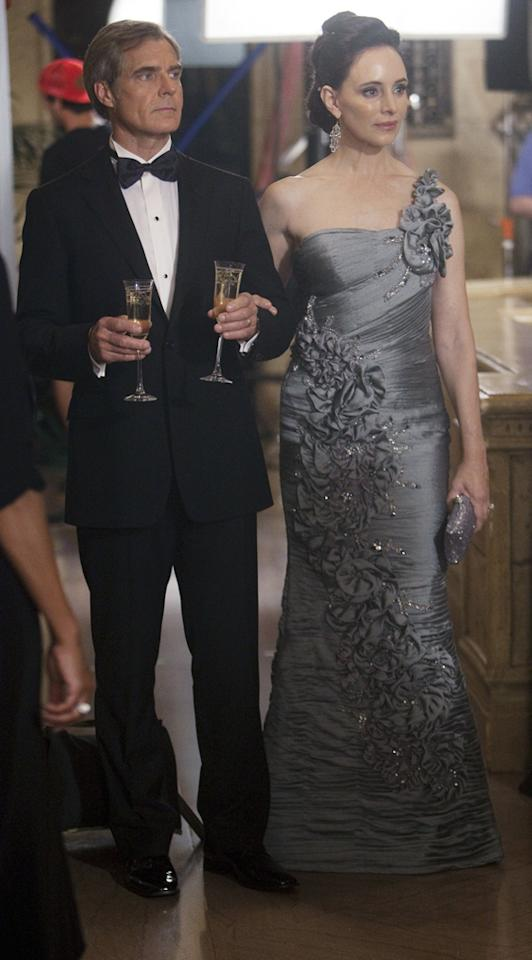 <b>Victoria Grayson's Terani Couture Gown in Episode 5, 'Guilt'</b><br><br>When you're Victoria Grayson (Madeleine Stowe), there's only one way to  make an entrance -- in a floor-length silver ball gown adorned with  rhinestones and pearls. To get the look, don't forget to wear Victoria's  favorite accessory: a sideways scowl.
