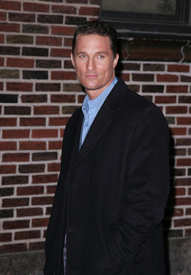 "<a href=""http://movies.yahoo.com/movie/contributor/1800018907"">Matthew McConaughey</a> visits the ""Late Show with David Letterman"" - 02/04/2008"