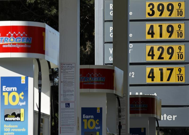 Gas prices are displayed at a petrol kiosk in Dal Mar