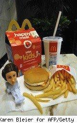 a McDonald's Happy Meal with Princess Leah Toy - happy Meal ban
