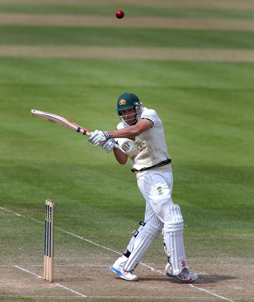 Australia batsman Usman Khawaja scores during against Somerset, during the International Tour match at the County Ground, Taunton.