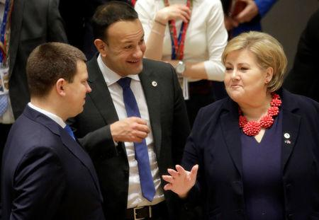 Estonian Prime Minister Juri Ratas, Irish Prime Minister Leo Varadkar and Norway's Prime Minister Erna Solberg take part in a European Union leaders summit in Brussels, Belgium March 22, 2019. Olivier Matthys/Pool via REUTERS