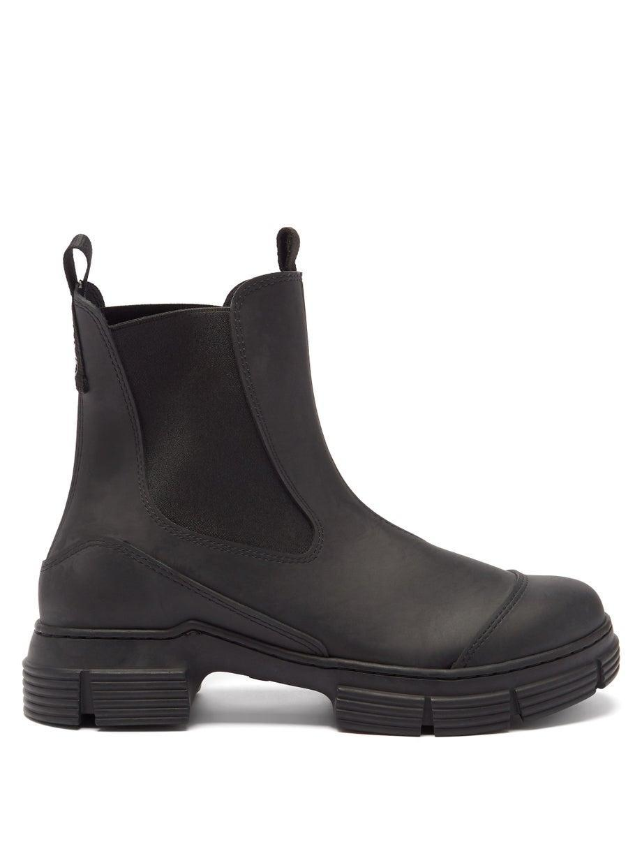 """<br><br><strong>Ganni</strong> Chunky Recycled Rubber-Blend Chelsea Boots, $, available at <a href=""""https://go.skimresources.com/?id=30283X879131&url=https%3A%2F%2Fwww.matchesfashion.com%2Fus%2Fproducts%2FGanni-Chunky-recycled-rubber-blend-Chelsea-boots-1418934"""" rel=""""nofollow noopener"""" target=""""_blank"""" data-ylk=""""slk:MatchesFashion"""" class=""""link rapid-noclick-resp"""">MatchesFashion</a>"""