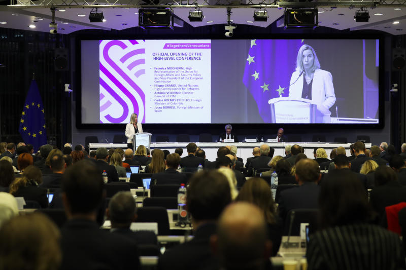 "European Union foreign policy chief Federica Mogherini addresses the audience during a high level conference about Venezuela migration crisis, in Brussels, Monday, Oct. 28, 2019. Hundreds of representatives from governments, international agencies and charity groups gathered in Brussels Monday for a ""solidarity conference"" to drum up support millions of Venezuelans who have fled the political crisis and to help neighboring countries that are taking them in. (AP Photo/Francisco Seco)"