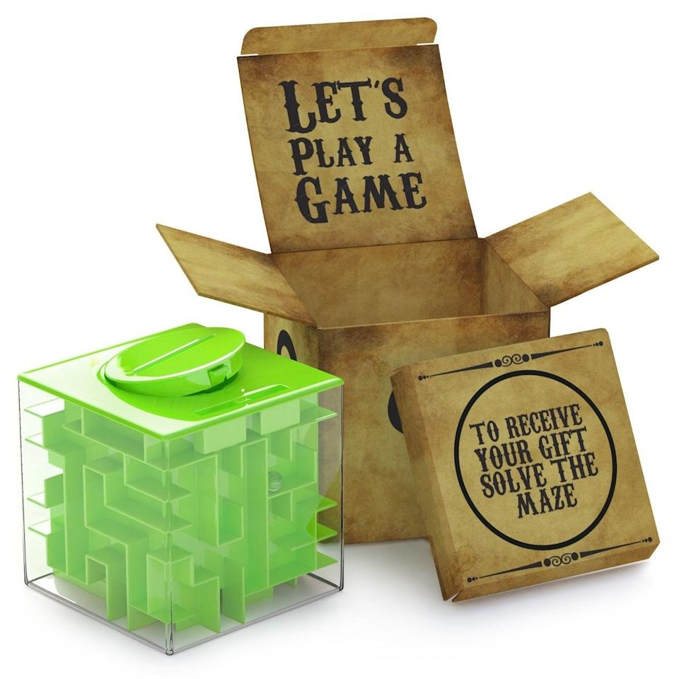 <p>Saving up is actually fun with this <span>AGreatLife Money Maze Puzzle Box </span> ($12).</p>