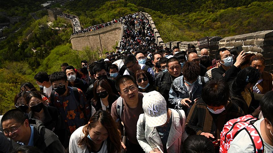 Thousands of people visit the Great Wall during the labour day holiday in Beijing on May 1. Source: AFP