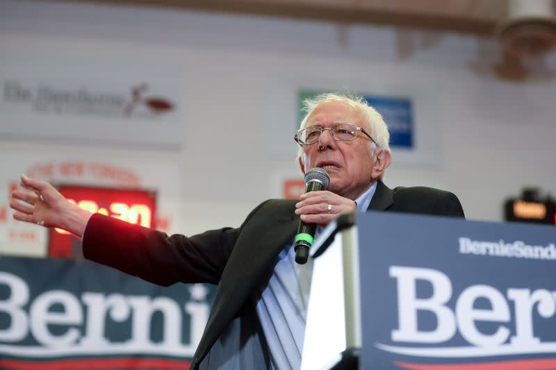 Democratic 2020 U.S. presidential candidate Sanders rallies with supporters in Winston-Salem