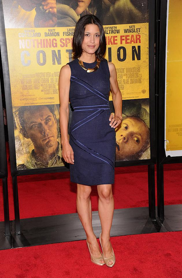 """<a href=""""http://movies.yahoo.com/movie/contributor/1808594424"""">Julia Jones</a> at the New York City premiere of <a href=""""http://movies.yahoo.com/movie/1810161340/info"""">Contagion</a> on September 7, 2011."""