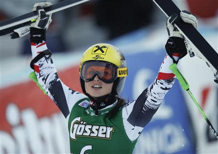 Austria's Fenninger celebrates after winning the women's giant slalom World Cup race in Lienz
