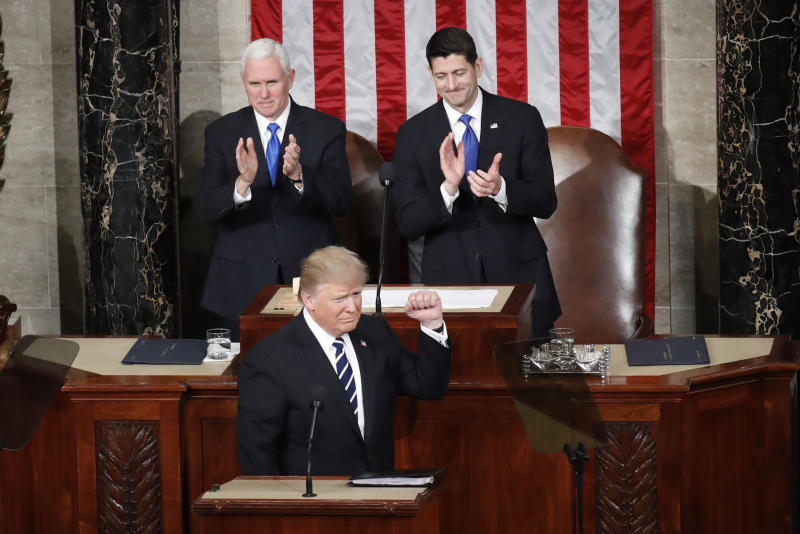 <p> In this Feb. 28, 2017, photo, President Donald Trump, flanked by Vice President Mike Pence and House Speaker Paul Ryan of Wis., gestures on Capitol Hill, before his address to a joint session of Congress. (AP Photo/Pablo Martinez Monsivais) </p>