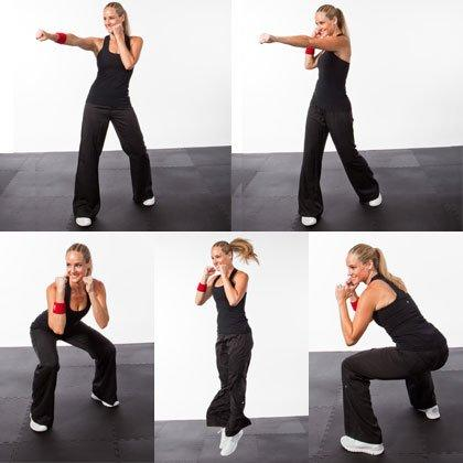 "<p>Attack and avoid an imaginary opponent with this punch combo kickboxing workout move. (To help channel your inner fighter, <a href=""https://www.shape.com/celebrities/celebrity-workouts/gina-rodriguez-practicing-muay-thai-boyfriend-thailand"" target=""_blank"">watch Gina Rodriguez master Muay Thai</a>!)</p> <ul><li>Stand with your right foot forward, arms in 'on guard' position (elbows bent, hands in fists on either side of your chin).</li> <li>Throw a right jab (punch your right arm forward, rotating your fist down, without locking out your elbow), a left cross (punch your left arm forward, rotating your left hip into the punch and lifting your left heel off the floor), and then bring your arms back to on guard position.</li> <li>Quickly push your hips back and lower into a squat, jump up, and rotate 180 degrees in the air, landing with your left foot forward.</li> <li>Immediately repeat the entire sequence on the left side.</li> <li>Continue alternating sides for 1 minute.</li> </ul>"