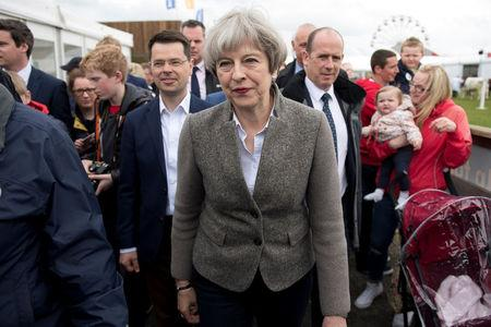 UK May's Conservatives on 47 pct, lead narrows slightly