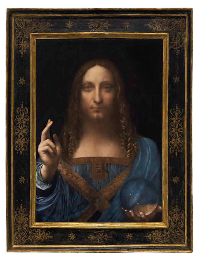 """""""Salvator Mundi,"""" an ethereal portrait of Jesus Christ which dates to about 1500, is the last privately owned Leonardo da Vinci painting, on display for the media at Christie's auction in New York, NY."""