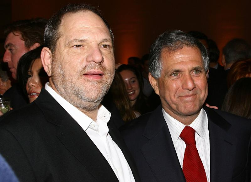 Now-disgraced Hollywood producer Harvey Weinstein, left, with CBS chief Les Moonves in May 2008. (Scott Wintrow via Getty Images)