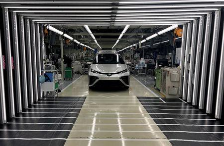 A Toyota Mirai fuel cell vehicle awaits final inspection at a Toyota Motor Corp. factory in Toyota in Aichi Prefecture, Japan, April 11, 2019. REUTERS/Joe White