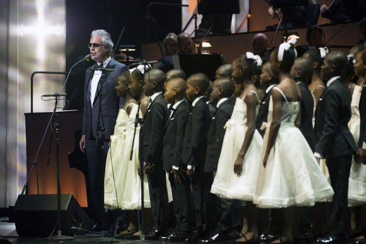 Andrea Bocelli with Voices of Haiti (Photo: Virginia Sherwood/NBC)