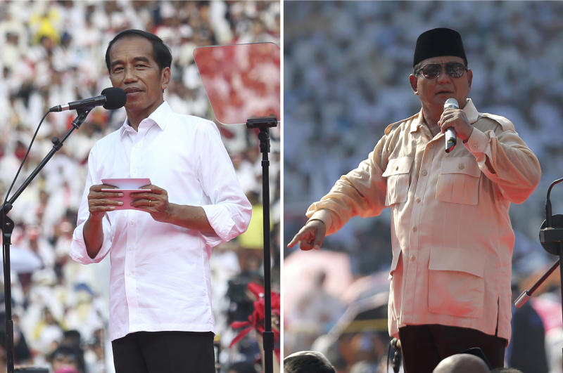 This combination photo taken on Saturday, April 13, 2019, left, and Sunday, April 7, 2019, right, show Indonesian President Joko Widodo, left, and his challenger in the upcoming election Prabowo Subianto during their campaign rallies in Jakarta, Indonesia. Indonesia's presidential election Wednesday, April 17, 2019 is a re-run of the 2014 contest when Widodo, a furniture business owner who became Jakarta governor, vied with the former special forces general to lead the world's third-largest democracy and most populous Muslim-majority nation. (AP Photo)