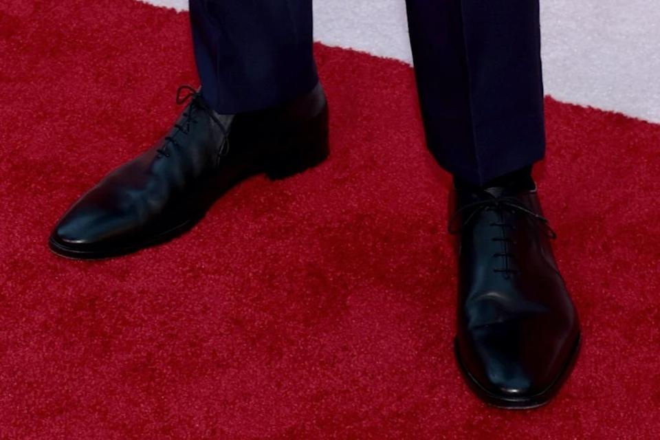 A closer look at Hiddleston's loafers. - Credit: Courtesy of Tony Awards