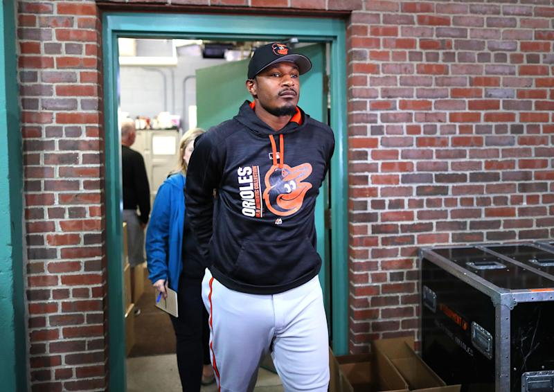 BOSTON, MA - MAY 2: Baltimore Orioles player Adam Jones leaves the clubhouse to go speak to reporters before the game against the Boston Red Sox at Fenway Park in Boston on May 2, 2017. During the previous night's game, racial comments were directed at him from the crowd. (Photo by John Tlumacki/The Boston Globe via Getty Images)