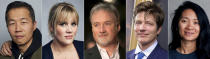 """This combination photo shows Oscar nominees for best director, from left, Lee Isaac Chung for """"Minari,"""" Emerald Fennell for """"Promising Young Woman,"""" David Fincher for """"Mank,"""" Thomas Vinterberg for """"Another Round"""" and Chloé Zhao for """"Nomadland."""" (AP Photo)"""