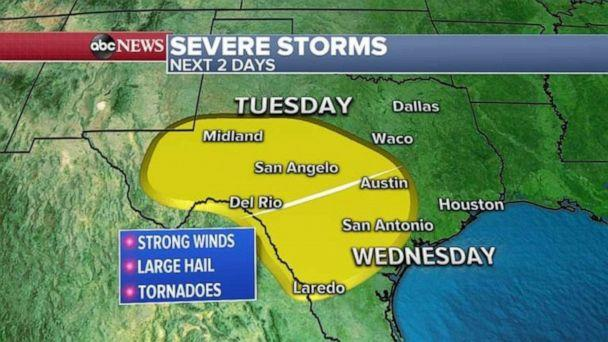 PHOTO: Much of Texas could see severe storms the next two days. (ABC News)