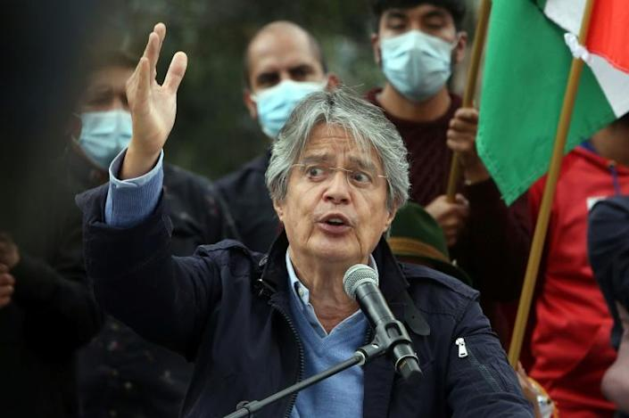 Ecuadorean presidential candidate Guillermo Lasso, speaks during his closing campaing rally near the city of Cayambe on April 7, 2021