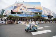FILE - This May 7, 2018 file photo shows a view of the Palais des Festivals at the 71st international film festival, Cannes, southern France. This year's Cannes Film Festival will be held July 6-17 — two months later than its usual May perch. (Photo by Arthur Mola/Invision/AP, File)