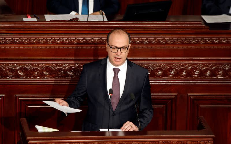 Tunisia's prime minister designate Elyes Fakhfakh speaks at the Assembly of People's Representatives in Tunis