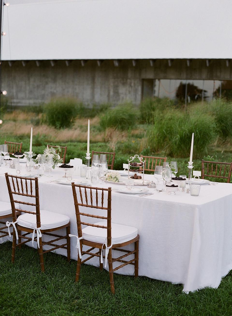 Our rehearsal dinner took place in an open field at the Parrish Art Museum.