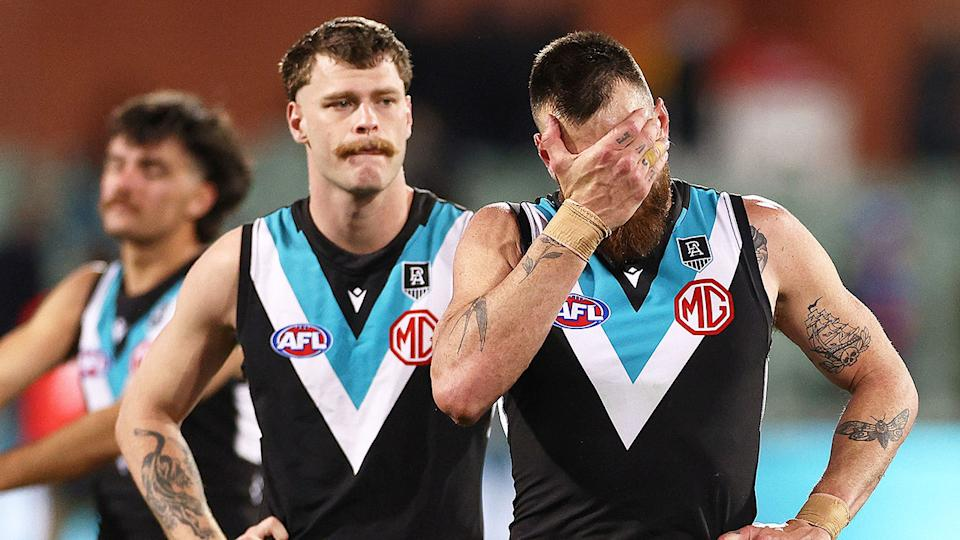 Pictured here, devastated Port Adelaide players react after being belted by the Western Bulldogs.