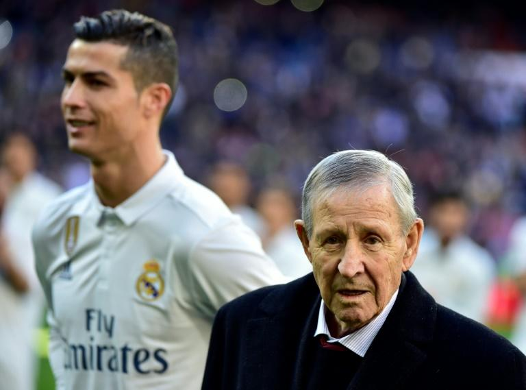 Former Real Madrid footballer Raymond Kopa (right) recently attended a ceremony at the Santiago Bernabeu stadium, where Cristiano Ronaldo was awarded his fourth Ballon d'Or before the Spanish league match against Granada