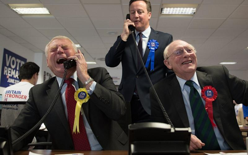 Lord Kinnock pictured alongside David Cameron and Lord Ashdown in the run up to the EU referendum - Credit: Stefan Rousseau/PA