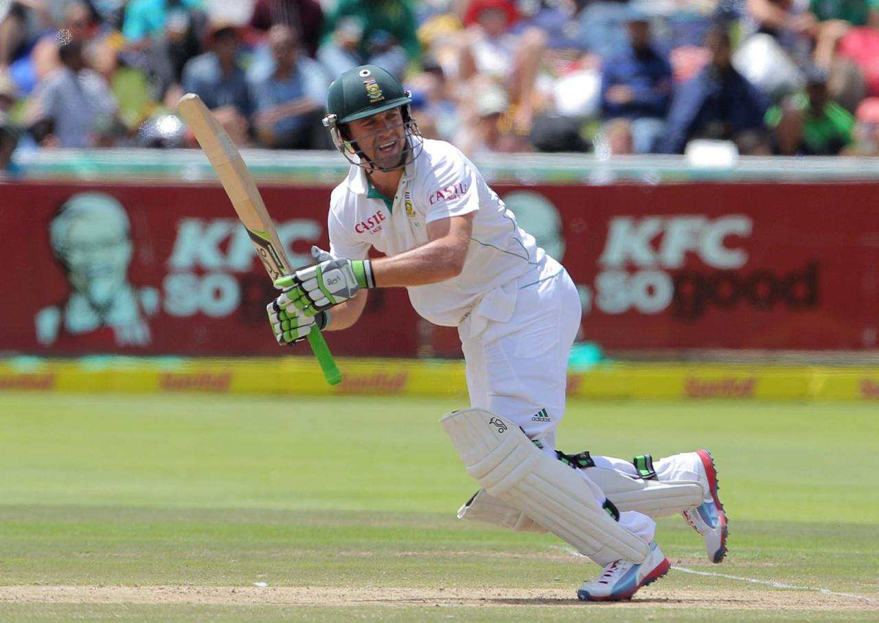 CAPE TOWN, SOUTH AFRICA - JANUARY 03: AB de Villiers from the Proteas hits out during day 2 of the 1st Test between South Africa and New Zealand at Sahara Park Newlands on January 03, 2013 in Cape Town, South Africa. (Photo by Carl Fourie / Gallo Images/Getty Images)