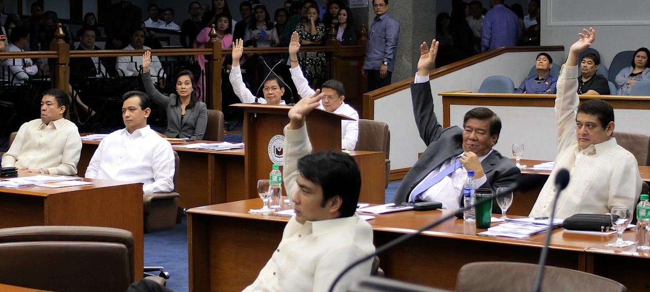 The vote against Enrile's motion to vacate post. (Joseph Vidal/NPPA Images)