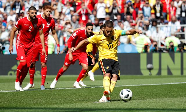 Soccer Football - World Cup - Group G - Belgium vs Tunisia - Spartak Stadium, Moscow, Russia - June 23, 2018 Belgium's Eden Hazard scores their first goal from the penalty spot REUTERS/Christian Hartmann TPX IMAGES OF THE DAY