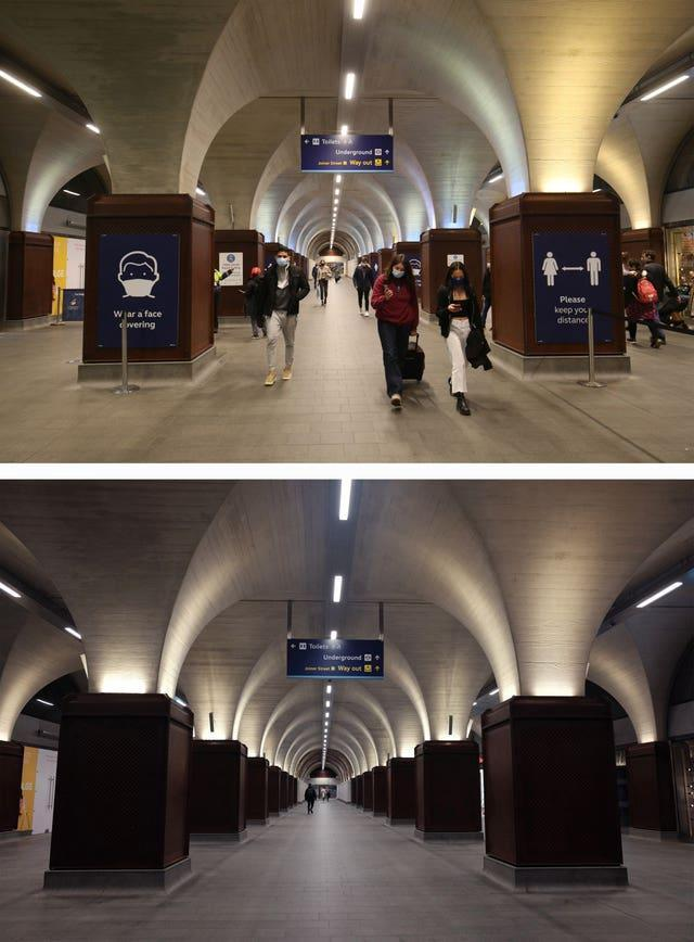 Composite of photos of London Bridge station taken today (top) and the same view on 24/03/20 (bottom), the day after Prime Minister Boris Johnson put the UK in lockdown